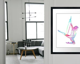 "Download and Print ""Rainbow Lyra Hoop"" aerial hoop. Printable watercolor art inspired by aerialists. The Circus collection 11.6x16.5 inches"