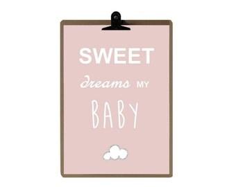 Nursery print - Pink color Nursery art prints - baby nursery decor - nursery wall - Children Art - Kids Room