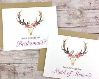 SET OF Will You Be My Bridesmaid Cards, Maid of Honor Cards, Flower Girl Cards, Matron of Honor Cards - (FPS0044)