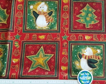 "Christmas Fabric, Snowmen, Penguins, Bears in Rich Red and Green, with Metallic Gold Highlights, 100% Cotton, Quilting, OOP, Remnant 14""x30"""