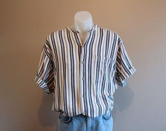 Striped Beach Vintage 90's Band Collared Mens Dress Shirt