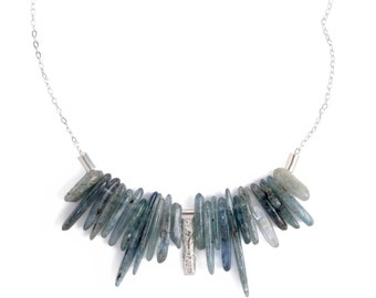 Colorful Healing Crystals and Stones Necklace, 925 Sterling Silver necklace with Blue Kyanite, Free Shipping Blue Gemstones & Silver Jewelry