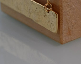 Gold Statement Necklace, Textured 14K Gold Bar Necklace, Minimalist Boho Fashion Layering Jewelry, Free Shipping Geometric Design Pendant