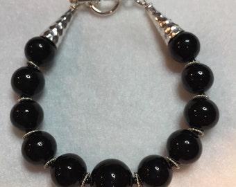 Murano Glass Bracelet, Silver 925 , Silver and Black