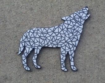 Glass Mosaic Wall Art, Wolf