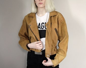 Vintage 80s Tan Brown Cropped Biker Leather Jacket - Extra Small/Small