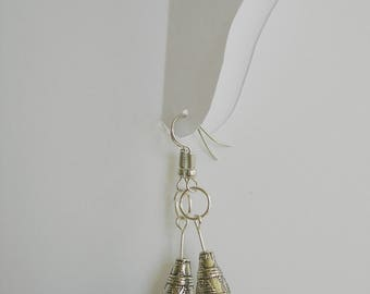 Earrings of paper. Beige with silver. Mother's day.