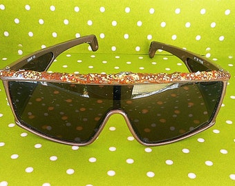 Glittery Over-the-Top True Vintage Eyeglasses Frames Glasses Made in Taiwan