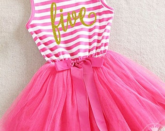 Fifth birthday outfit, 5th birthday dress, hot pink tutu for girls 5th birthday, 5th Birthday Party Outfit