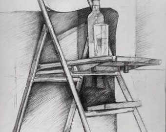 Stuhl bleistiftzeichnung  Glas bleistiftzeichnung | Etsy