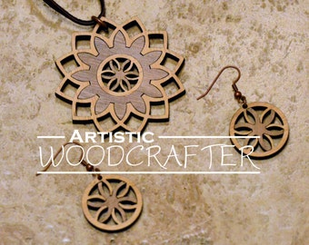 Wooden Flower Necklace and Earring set (Bamboo/Walnut)
