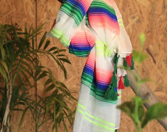 Colourful Pink,Green,Blue,Yellow,Off-White Scarf/TasselSpringSummer Scarf/Gift/Reasonable Trendy/Wrap/Shawl/Fashionable Modern Scarf/For Her