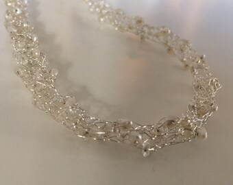Knitted Fine Silver Wire & Tiny Pearls Necklace