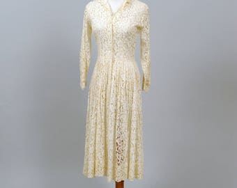 1950 Lace Shirtmaker Vintage Wedding Dress