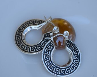 Antiqued Geometric Silver Hoop Earrings