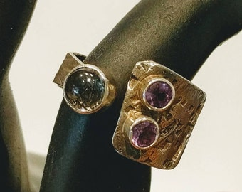 Open ring, modern ring, cuff ring, artisan ring, rutilated quartz ring, amethyst ring, adjustable ring, size 5-6 ring, sterling silver ring