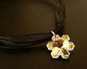 Swarovski Crystal Snowflake on Black Ribbon & Cord Necklace