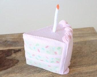 Pink Felt Birthday Cake - Felt Cake - Felt Birthday - Birthday Cake - Pretend Food - Felt Food - Play Food - Play Felt Food