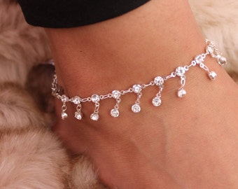 Silver Diamond Anklet