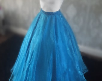 Cinderella Blue Long Taffeta and Organza Skirt
