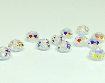 6mm Swarovski Bead, Crystal AB, Faceted Rondelle, Crystal Clear, Swarovski Elements, Diy Jewelry, Loose Beads, for Jewelry Making, YC4005