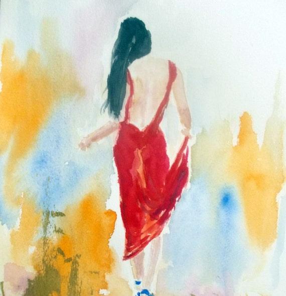 Peinture femme en robe rouge