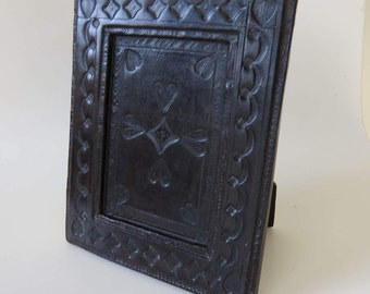 Vintage Embossed Leather Photo Frame Chocolate Brown in Colour - Hand Made