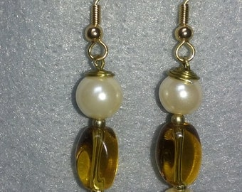 Seathorn Pearl and Amber Earrings