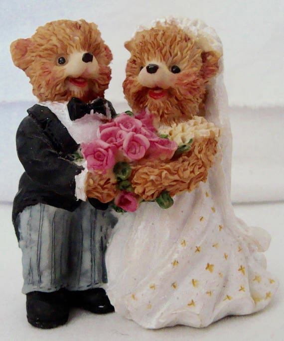 Resin Teddy Bear Bride Groom Figurine Wedding Cake Topper 3 Tall From TimesGoneByFinds On Etsy Studio