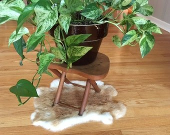 Vintage Mid Century Modern wood furniture stool/plant stand/Yugoslavian made/folding