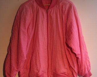 oversized Blouson bomber jacket pink 44 80s 90s Barbie pink balloon silk Gr.