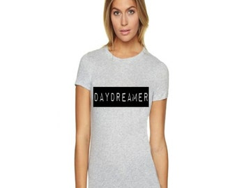 Daydreamer Cute and Trendy Women's Fitted Graphic Tee Shirt Fun and Playful Womens Clothing in Heather Gray