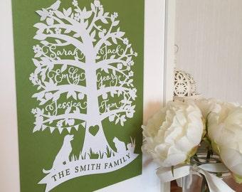 Papercut TEMPLATE - Personalised Family Tree PDF / JPEG / svg