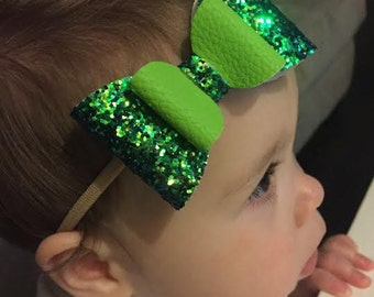 Large Green Glittered Bow