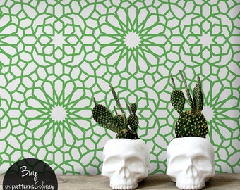 Oriental flowers pattern, green, geometric shapes wallpaper, self adhesive, reusable, removable #112
