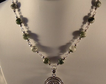 Tree Agate Necklace, Semi-Precious Bead Necklace, Agate Bead Necklace, Metal Jewellery, Jewellery, Pendant Necklace, Necklace, Birthday Gift