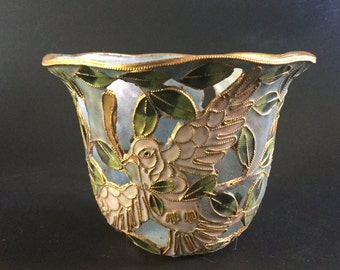 Vintage Metal Enamel Cloisonné Style Votive Candle Holder With Peace Dove