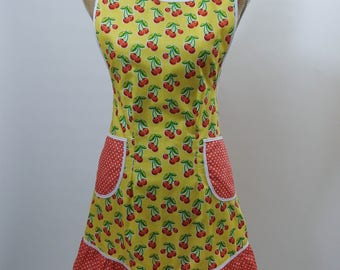 Vintage Style Apron-Cherry Theme Red/Orange on Yellow Background-Full Coverage-Figure Flattering Design-Ruffle-Lined pockets-White Trim