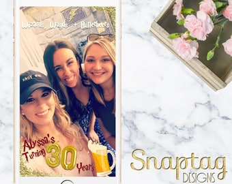 Custom Snapchat Geofilter || Harry Potter, wizards, wands, butterbeer, 30th birthday, birthday filter, snapchat filter, birthday snapchat