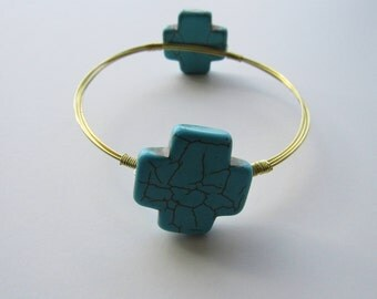 Turquoise Cross Gold Wire Bangle