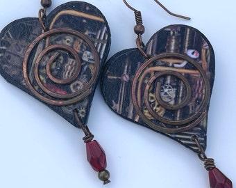 Decoupage Steampunk Drop Earrings