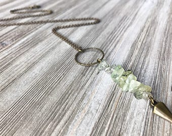 Prehnite & Spike Pendant Necklace // Long Necklace // Edgy Necklace // Gift for Her // Modern Necklace // Green Necklace // Unique Necklace