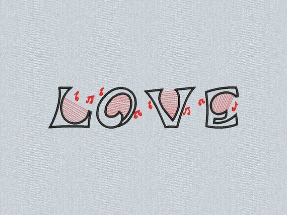 Love Music - musical notes - Machine embroidery design - for instant download