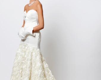Unique Rose Train Wedding Dress, Ivory Wedding Dress, Couture Wedding Dress, Made to Order, Sweetheart wedding dress, Floral, Wedding Dress