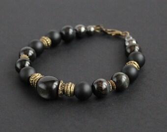 Black woman bracelet Black gemstone bracelet Shungite stone Black obsidian bracelet Blue tiger eye bracelet Protective bracelet Bronze black