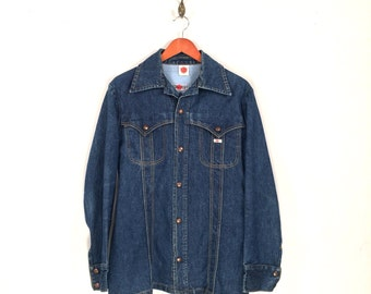 1970s GWG Denim Jacket. Funky Vintage Deep Indigo Denim Jean Jacket, Made in Canada.