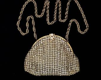 Vintage 1920s rhinestone purse All-over prong-set rhinestones on flapper handbag with long chain and rhinestone clasp
