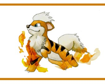 Growlithe Pokemon Print -Coloured inks and Watercolours