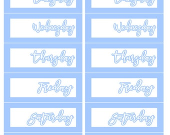 Simple Blue Date Covers Planner Stickers