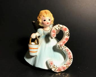 Vintage Josef Originals Birthday Angel 3 Figurine